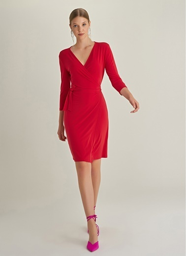 NGSTYLE Kruvaze Örme Elbise Kırmızı